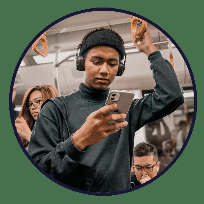 mobile user on train